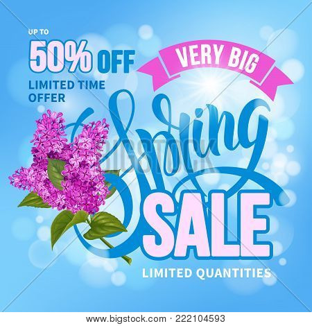 Advertisement about the spring sale on defocused background with beautiful lilac flowers. Vector illustration.