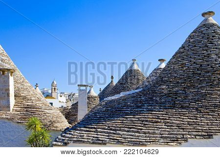 Alberobello, Italy, detail of the conical roof of the  Trulli, rural dwellings of medieval origin made with dry stones