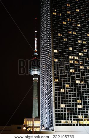 BERLIN, GERMANY - JANUARY 03: The TV Tower and the Park Inn Hotel at night on Alexanderplatz on January 03, 2018 in Berlin.