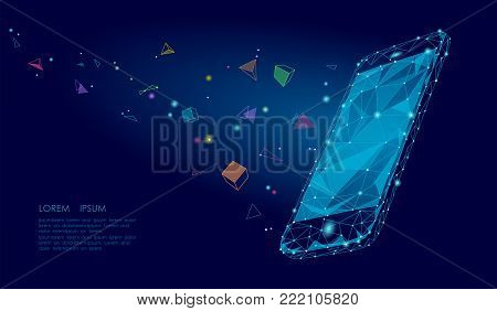 E-book mobile smartphone 3d virtual reality visual imagination mind effect. Low poly polygonal geometric shapes. Creative e-learning reading electronic touch screen blue media vector illustration art