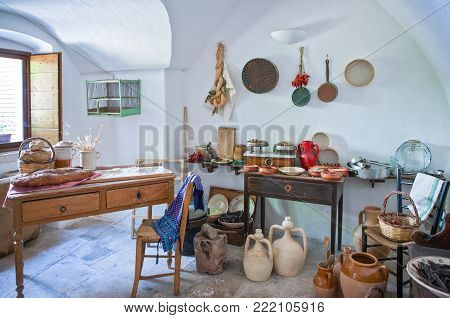 Alberobello, Italy - July 19, 2006: The interior of the  Trulli, rural dwellings of medieval origin made with dry stones