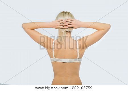 Snap Models. Beautiful Snap Blonde Woman in white underwear isolated on white background