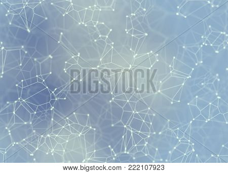 Blue Abstract Hi-Tech Cluster  - Plexus Background