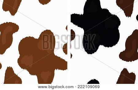 Vector Cow Skin Print. Light Brown Cow Skin Background. Black and Brown Cow Skin Pattern