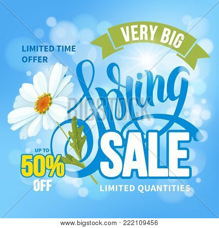 Advertisement about the spring sale on defocused background with beautiful chamomile flower. Vector illustration.
