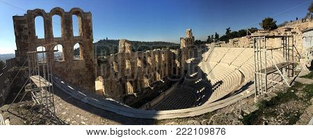 Photo of an antic greek theatre  in a sunny day
