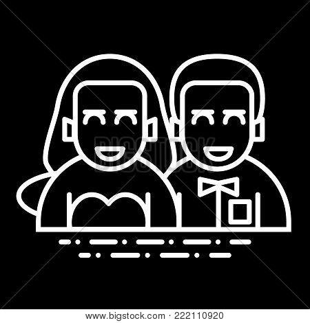 wedding couple flat, line icon. newlyweds vector icon on black background. Valentine Day concept. Outline design
