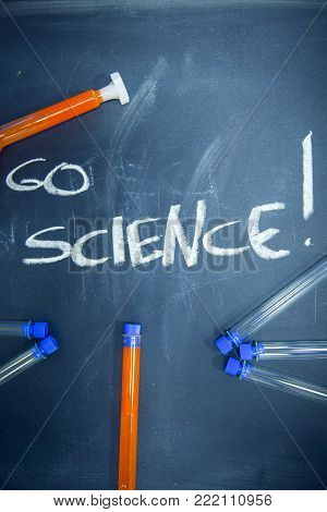 Education concept: Go Science inscribed with colored chalks on a black chalkboard and chemistry flasks, top view, close up