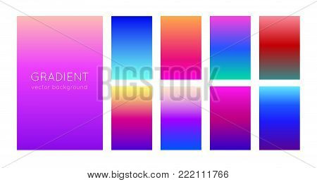 Abstract set of modern bright color gradient backgrounds and texture for mobile applications and smartphone screen. Vivid design element for banner, cover or flyer. EPS 10
