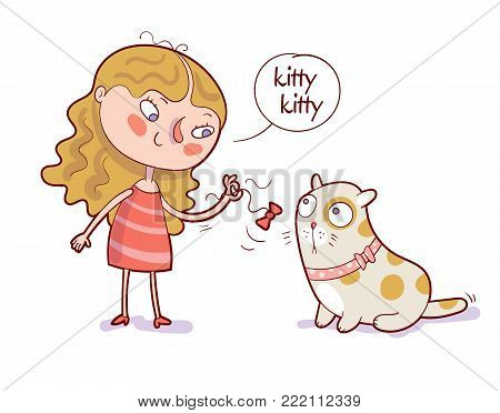 Cartoon girl playing bow on rope with her cat. Isolated vector illustration of happy kid and pet. Funny cartoon character. White background