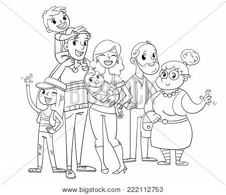 My big family posing together (father, mother, daughter, son, grandparents). Funny cartoon character. Vector illustration. Coloring book. Isolated on white background