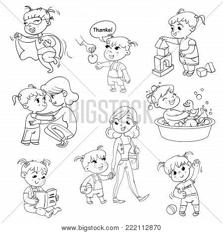 Cartoon kid daily routine activities set. Girl goes for a walk with mom. Kid with Speech say thank you. Child takes a bath. Reading a book. Girl doing exercises.  Funny cartoon character. Isolated