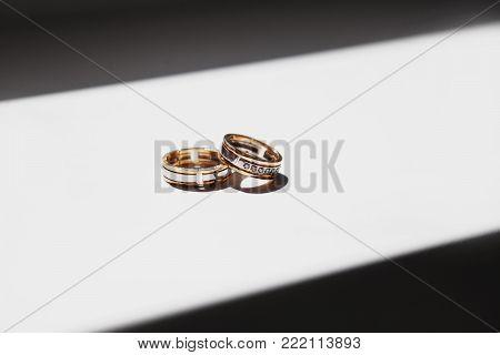 Wedding ceremony. The bride and groom exchange wedding rings. Wedding symbol. Celebrate the wedding. Wedding ceremony and wedding bands.