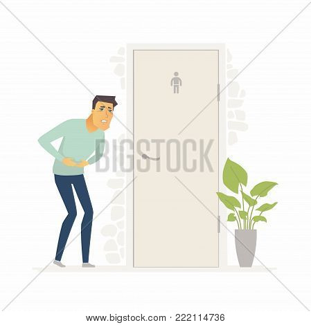 Man suffering from diarrhea - cartoon people characters isolated illustration on white background. A person with a stomachache standing before the water closet. Medical and healthcare concept
