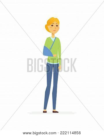 Woman with a broken arm - cartoon people characters isolated illustration on white background. A sad person with a sling standing. High quality image for your presentation. Medical, healthcare theme