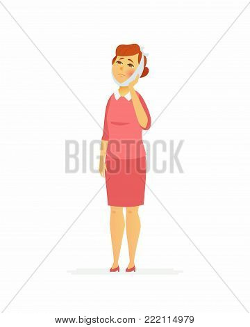 Woman with a toothache - cartoon people characters isolated illustration on white background. A young person in pink clothes with a bandaged cheek having a pain. Medical, healthcare theme
