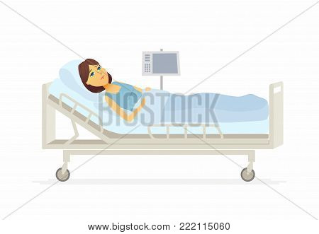 Woman lying in hospital bed - cartoon people characters illustration on white background. A young person suffering from a disease. An image of a ward with a cardiograph. Medical, healthcare theme
