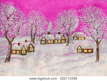 Hand painted Christmas illustration, watercolor and white gouache, winter landscape with village houses and trees on pink sky.