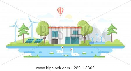 Landscape with a pond - modern flat design style vector illustration on white background. Lovely view with a small building in the center, trees, windmills, pool with swans, solar panels, a balloon