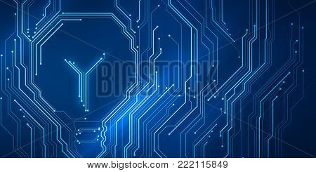 Background conceptual image of digital chip lightbulb on blue circuit mesh. Bright technology idea.