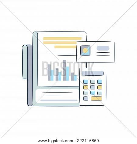 Count work object vector icons. Paperwork and calculator.