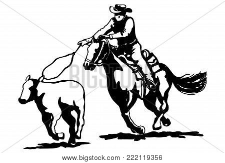 Illustration of cowboy riding horse with lasso roping a cow