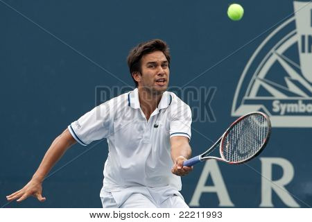 LOS ANGELES, CA. - JULY 31: Treat Conrad Huey (PHI) in action during the 2011 Farmers Classic doubles final on July 31 2011 in Los Angeles.