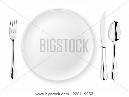 Realistic vector spoon, fork, knife and dish plate closeup isolated on white background. Design template or mock up. Top view.