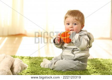 Portrait of a distracted baby biting a toy sitting on the floor at home