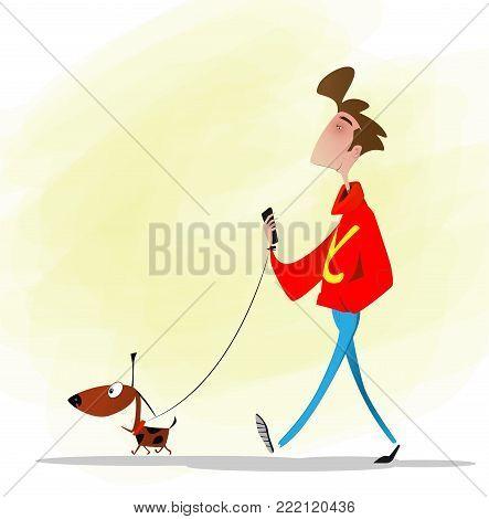 Full length cartoon boy walking a dog. Vector illustration.