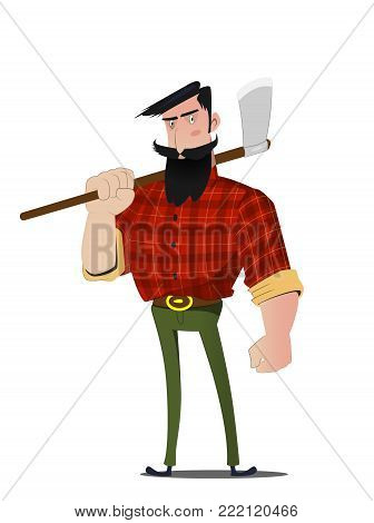 Cartoon bearded lumberjack in a plaid shirt and with an ax in his hand. Vector