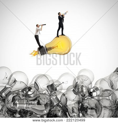 Businessman with monocular looking for ideas. 3D Rendering