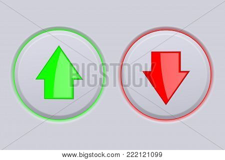 Up and Down gray buttons with green and red arrows. Vector illustration