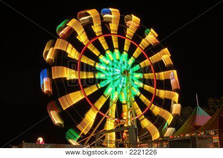 Farris Wheel At Night