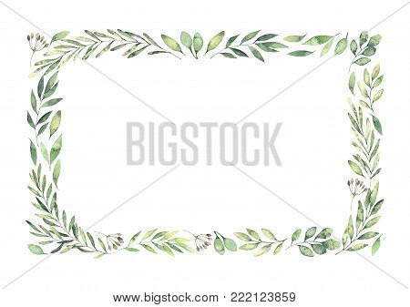 Hand drawn watercolor illustration. Botanical rectangular border with green branches and leaves. Spring mood. Floral Design elements. Perfect for invitations, greeting cards, prints, posters, packing etc