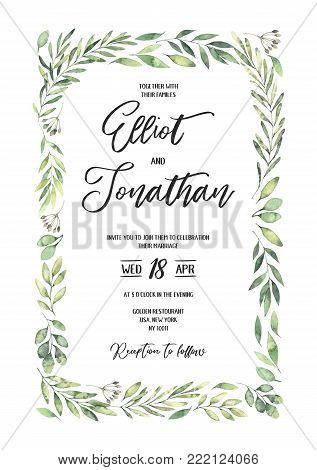 Hand drawn watercolor illustration. Botanical rectangular wedding invitation with green branches and leaves. Spring mood. Floral Design elements. Perfect for invitations, greeting cards, prints, posters, packing etc