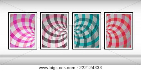 Swirling radial pattern background. Vector illustration for swirl design. Helix rotation rays.Set of vector backgrounds.Double helix