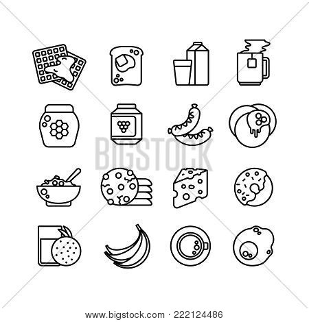 Breakfast hot meal line vector icons. Breakfast food, donut and burger, hot coffee and cheese illustration