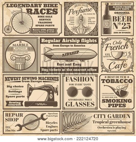 Vintage newspaper banners and advertising labels vector set. Newspaper advertising, press media paper vintage illustration