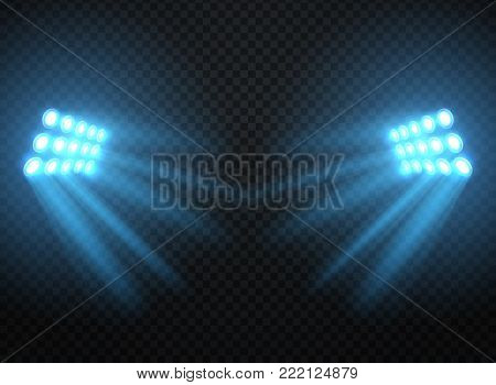 Stadium lights, shiny projectors isolated. Vector spotlight template. Lighti projector illuminated for concert and game illustration