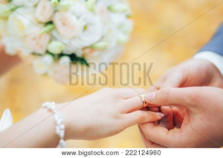 Two gold rings in the hand of the groom. The bride takes the gold rings from the bridegroom's hand