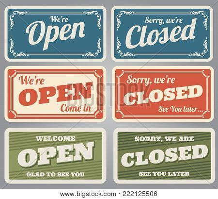 Vintage open and closed vector shop signs. Open shop and closed store retro banner for door illustration