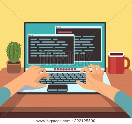 Person programmer working on pc laptop with program code on screen. Coding and programming vector concept. Illustration of developer programming software, coding type