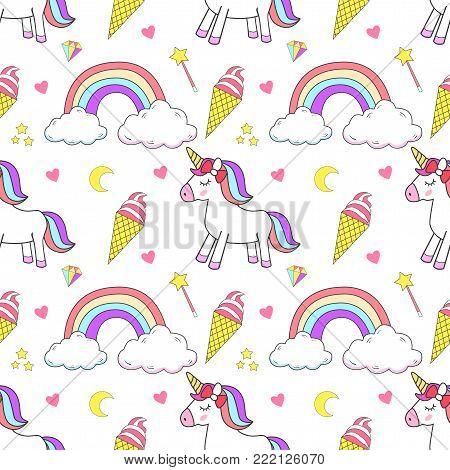 Cute unicorn, princess concept, girl beauty seamless pattern isolated on white background. Vector cartoon design. Magic unicorn, heart, rainbow, stars, diamond, Pop style