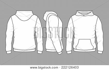 Male hoodie sweatshirt in front, back and side views. Vector sweatshirt or sportswear clothing with hood illustration