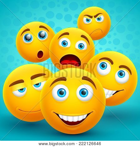 Happiness and friendship creative vector concept with yellow emoji icons. Smile face happy emoticon, emotion cartoon character illustration