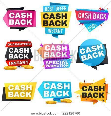 Money cash back vector labels and stickers. Set of cashback badge for shop, tag label cash back after sale illustration
