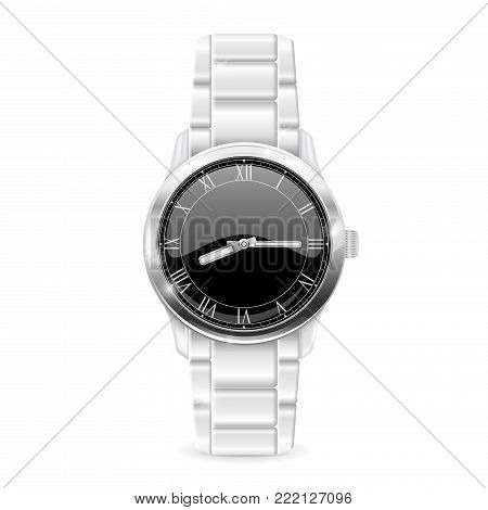 Men watch with metal bracelet. Roman numerals on black clockface. Vector 3d illustration isolated on white background