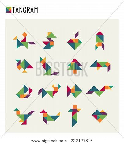 Tangram children brain game cutting transformation puzzle vector set. Puzzle game transformation pet and rocket illustration
