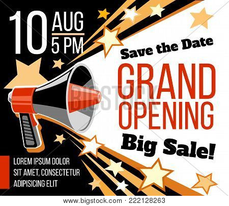 Grand opening ceremonial vector concept with megaphone. Announcement open event invitation illustration
